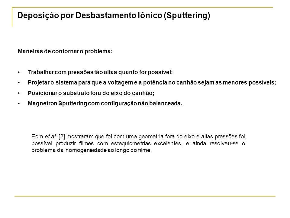 Deposição por Desbastamento Iônico (Sputtering) Maneiras de contornar o problema: Trabalhar com pressões tão altas quanto for possível; Projetar o sis