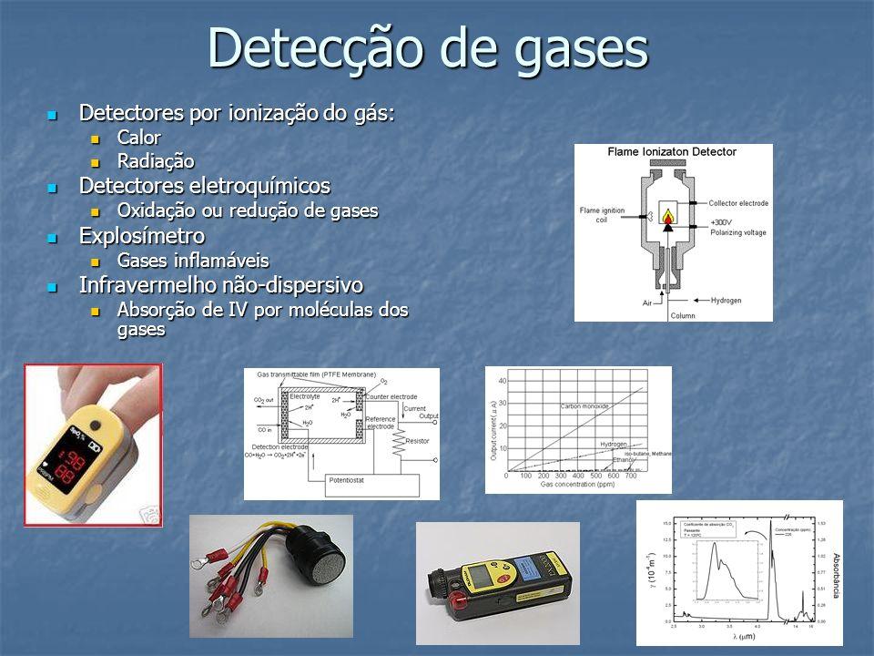 Detecção de gases Detectores por ionização do gás: Detectores por ionização do gás: Calor Calor Radiação Radiação Detectores eletroquímicos Detectores