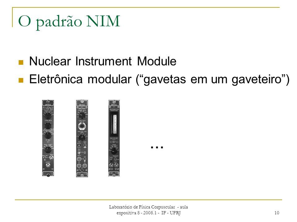Laboratório de Física Corpuscular - aula expositiva 8 - 2008.1 - IF - UFRJ 10 O padrão NIM Nuclear Instrument Module Eletrônica modular (gavetas em um