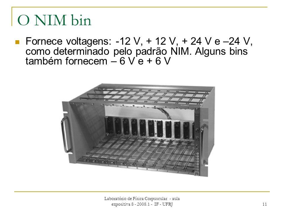 Laboratório de Física Corpuscular - aula expositiva 8 - 2008.1 - IF - UFRJ 11 O NIM bin Fornece voltagens: -12 V, + 12 V, + 24 V e –24 V, como determi