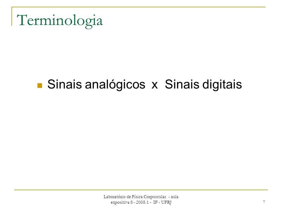 Laboratório de Física Corpuscular - aula expositiva 8 - 2008.1 - IF - UFRJ 7 Terminologia Sinais analógicos x Sinais digitais