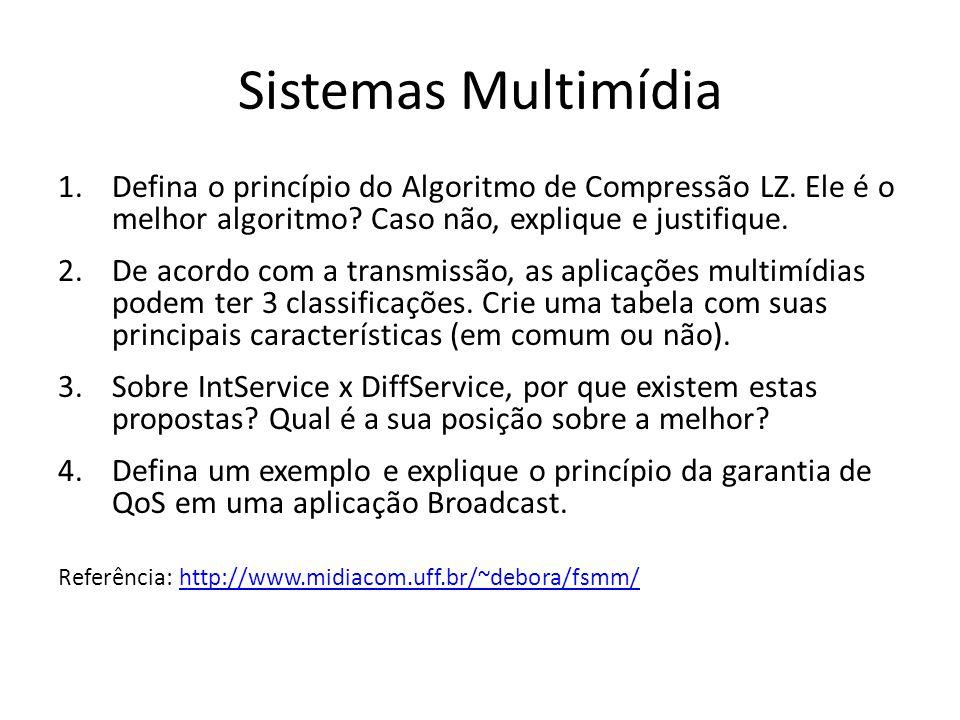 Sistemas Multimídia 1.Defina o princípio do Algoritmo de Compressão LZ. Ele é o melhor algoritmo? Caso não, explique e justifique. 2.De acordo com a t
