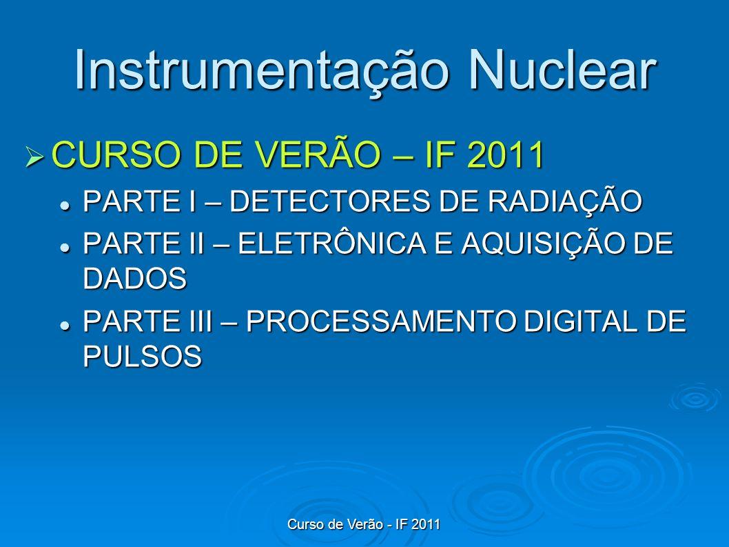 Curso de Verão - IF 2011 Detectores a gás – Propriedades Gerais Modo corrente (monitoração e dosimetria) Modo corrente (monitoração e dosimetria) um fluxo grande de radiação incide sobre o detector.