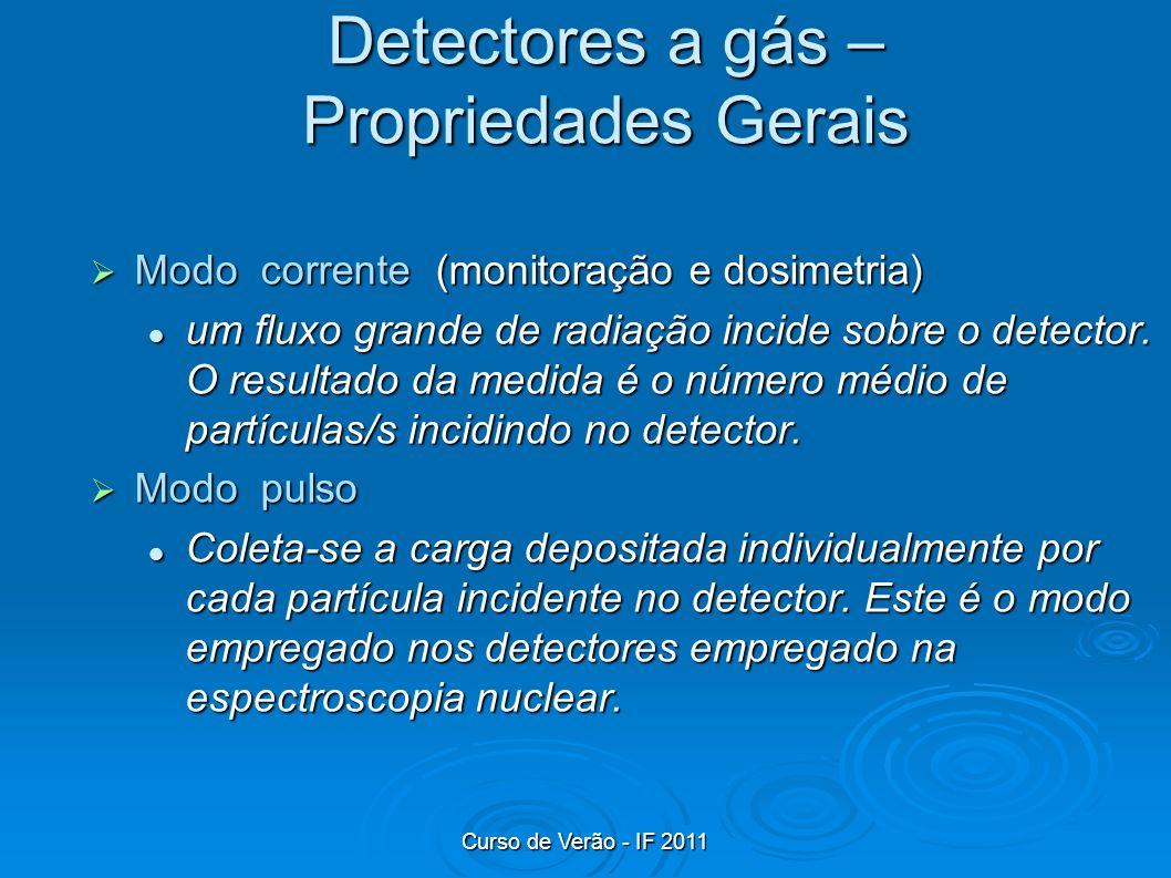 Curso de Verão - IF 2011 Detectores a gás – Propriedades Gerais Modo corrente (monitoração e dosimetria) Modo corrente (monitoração e dosimetria) um f