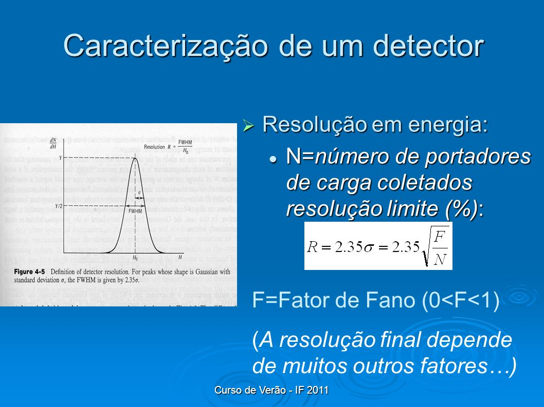 Curso de Verão - IF 2011 Caracterização de um detector Resolução em energia: Resolução em energia: N=número de portadores de carga coletados resolução