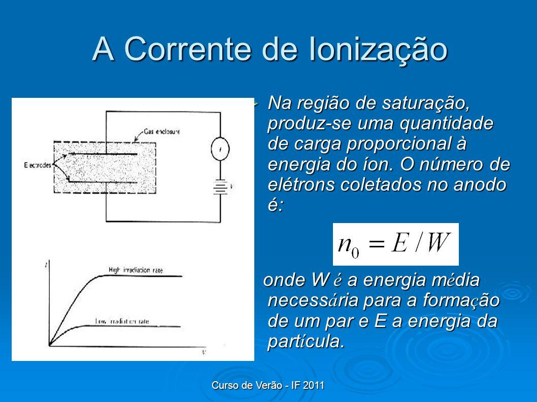 Curso de Verão - IF 2011 A Corrente de Ionização Na região de saturação, produz-se uma quantidade de carga proporcional à energia do íon. O número de
