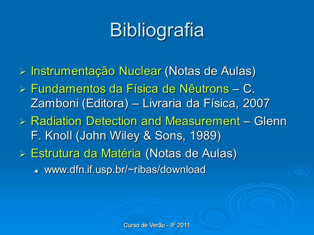 Curso de Verão - IF 2011 Bibliografia Instrumentação Nuclear (Notas de Aulas) Instrumentação Nuclear (Notas de Aulas) Fundamentos da Física de Nêutron