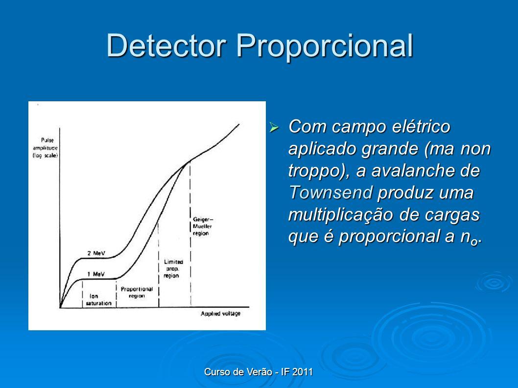 Curso de Verão - IF 2011 Detector Proporcional Com campo elétrico aplicado grande (ma non troppo), a avalanche de Townsend produz uma multiplicação de