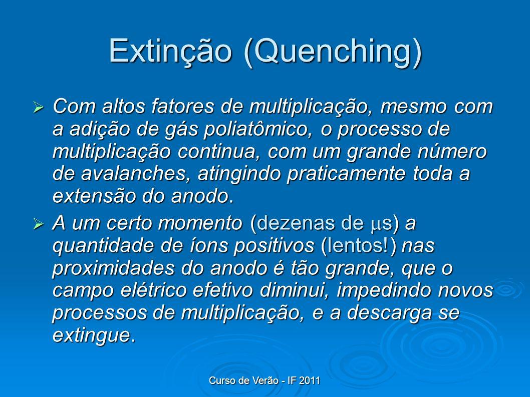 Curso de Verão - IF 2011 Extinção (Quenching) Com altos fatores de multiplicação, mesmo com a adição de gás poliatômico, o processo de multiplicação c