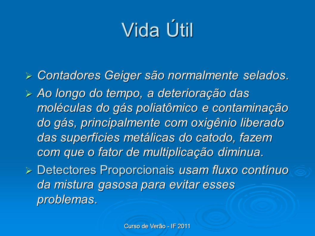 Curso de Verão - IF 2011 Vida Útil Contadores Geiger são normalmente selados. Contadores Geiger são normalmente selados. Ao longo do tempo, a deterior