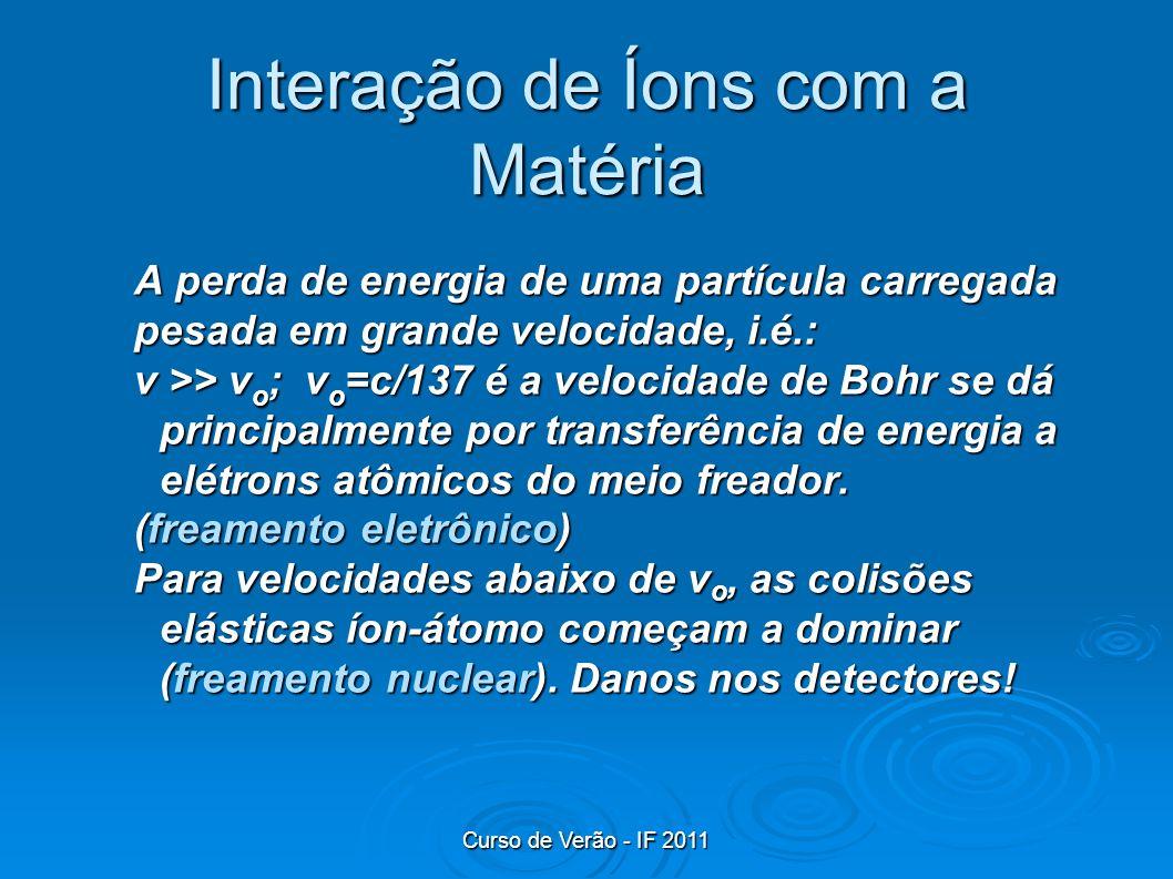 Curso de Verão - IF 2011 Interação de Íons com a Matéria A perda de energia de uma partícula carregada pesada em grande velocidade, i.é.: v >> v o ; v