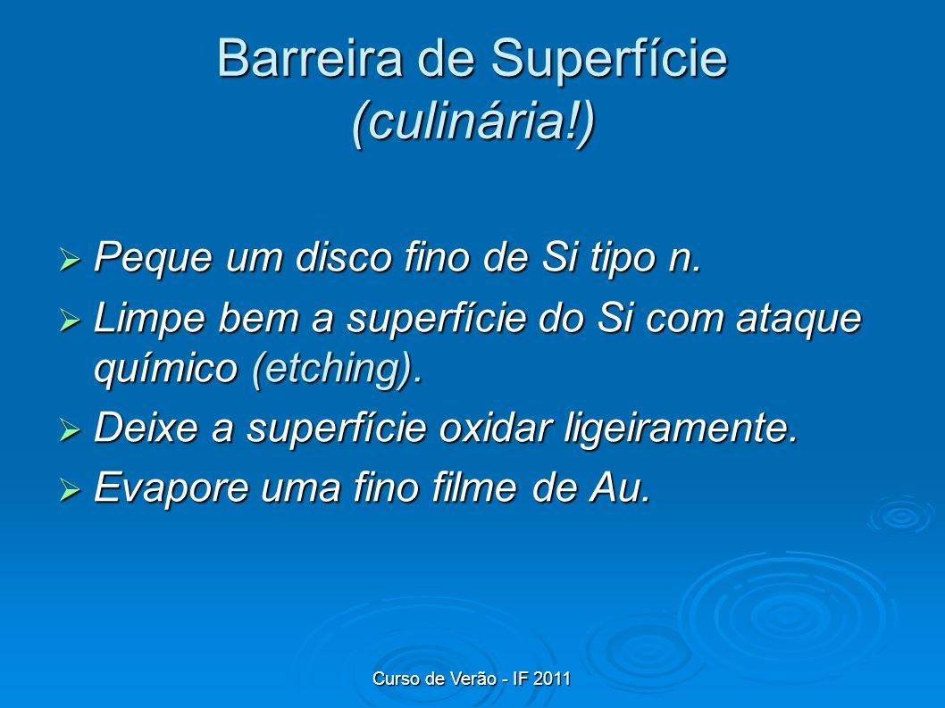 Curso de Verão - IF 2011 Barreira de Superfície (culinária!) Peque um disco fino de Si tipo n. Peque um disco fino de Si tipo n. Limpe bem a superfíci
