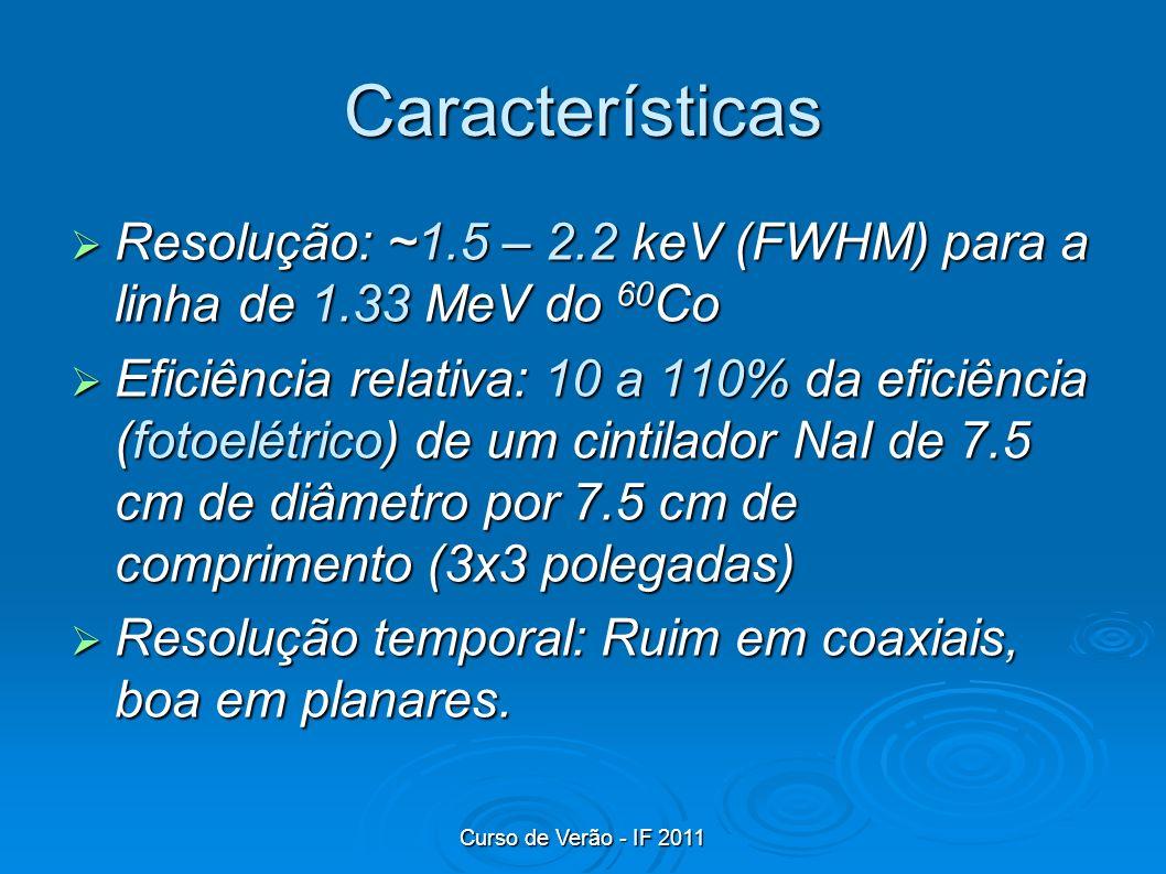 Características Resolução: ~1.5 – 2.2 keV (FWHM) para a linha de 1.33 MeV do 60 Co Resolução: ~1.5 – 2.2 keV (FWHM) para a linha de 1.33 MeV do 60 Co