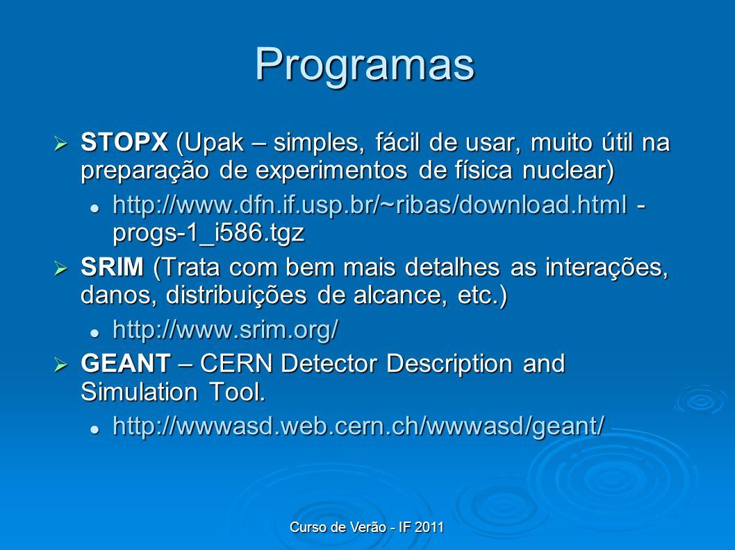 Programas STOPX (Upak – simples, fácil de usar, muito útil na preparação de experimentos de física nuclear) STOPX (Upak – simples, fácil de usar, muit