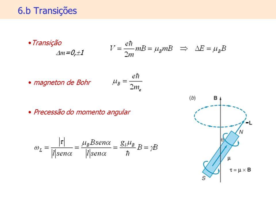 6.b Transições TransiçãoTransição m =0, 1 m =0, 1 magneton de Bohr magneton de Bohr Precessão do momento angular Precessão do momento angular
