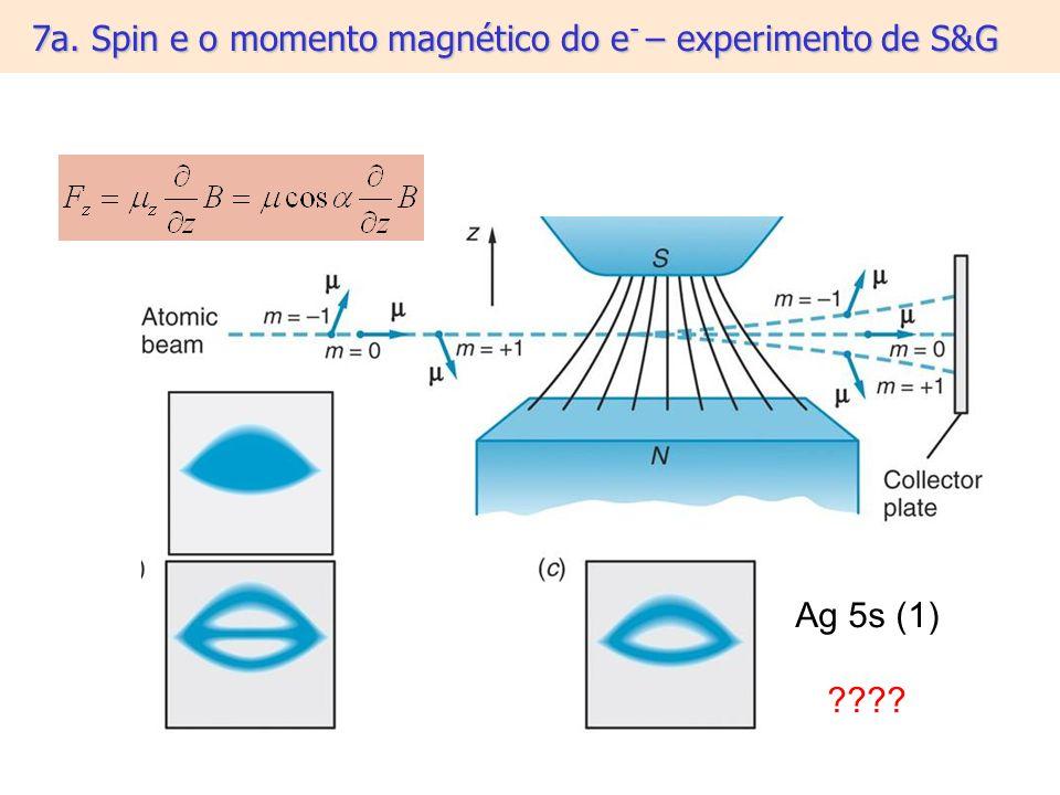 7a. Spin e o momento magnético do e - – experimento de S&G Ag 5s (1) ????