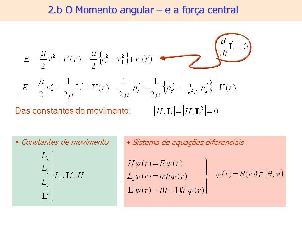 2.b O Momento angular – e a força central Das constantes de movimento: Constantes de movimento Sistema de equações diferenciais