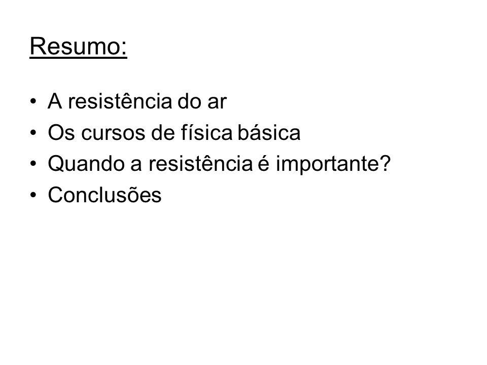 Resumo: A resistência do ar Os cursos de física básica Quando a resistência é importante? Conclusões
