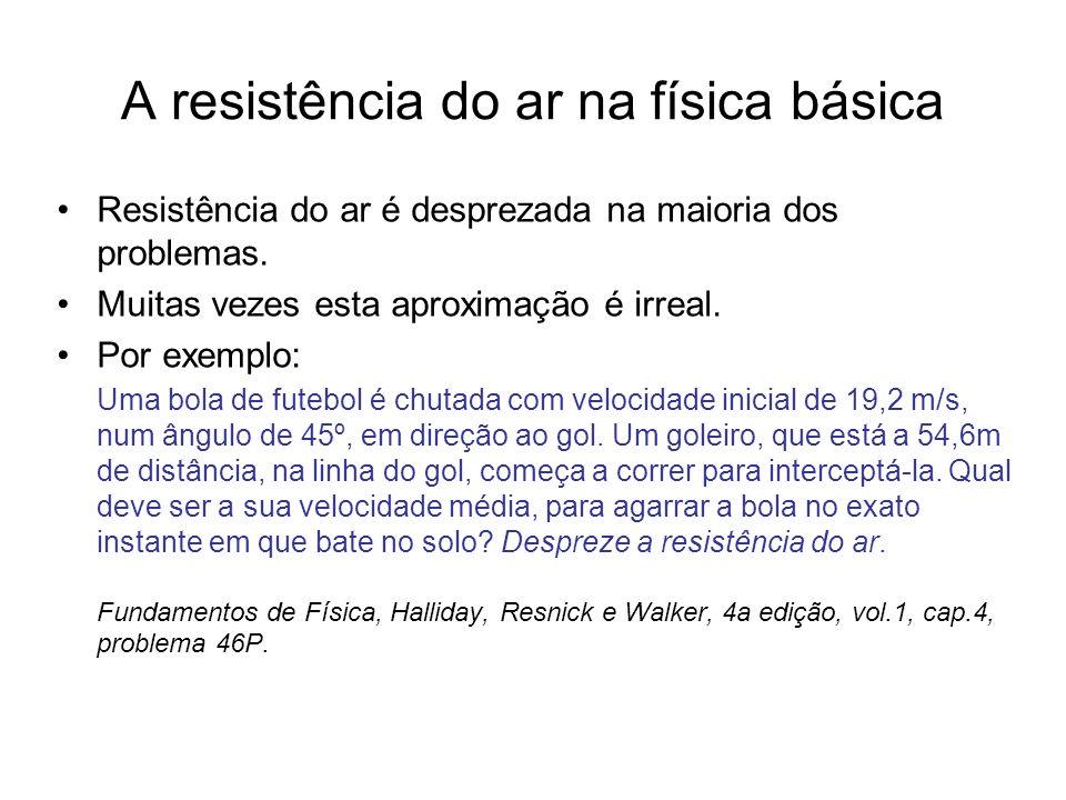 A resistência do ar na física básica Resistência do ar é desprezada na maioria dos problemas. Muitas vezes esta aproximação é irreal. Por exemplo: Uma