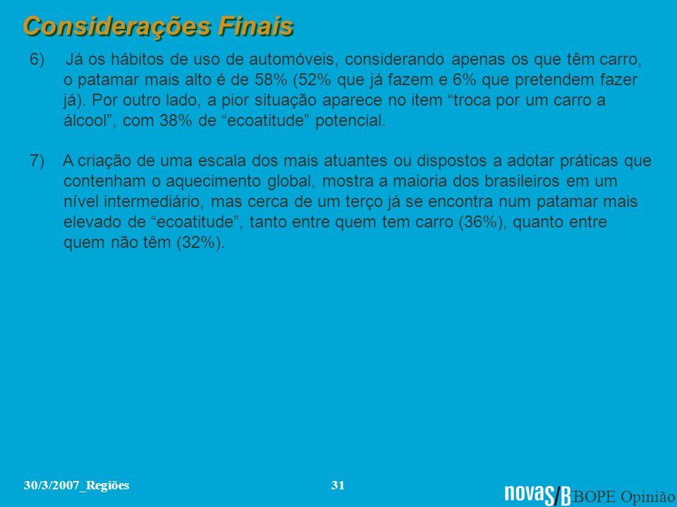 IBOPE Opinião 30/3/2007_Regiões31 Considerações Finais 6) Já os hábitos de uso de automóveis, considerando apenas os que têm carro, o patamar mais alt