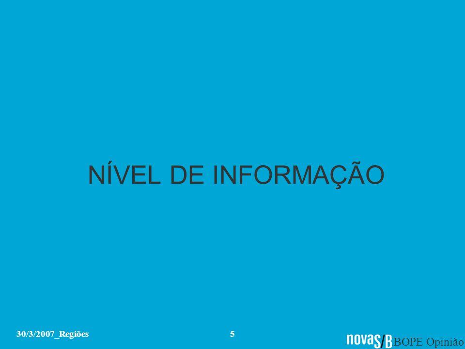 IBOPE Opinião 30/3/2007_Regiões5 NÍVEL DE INFORMAÇÃO