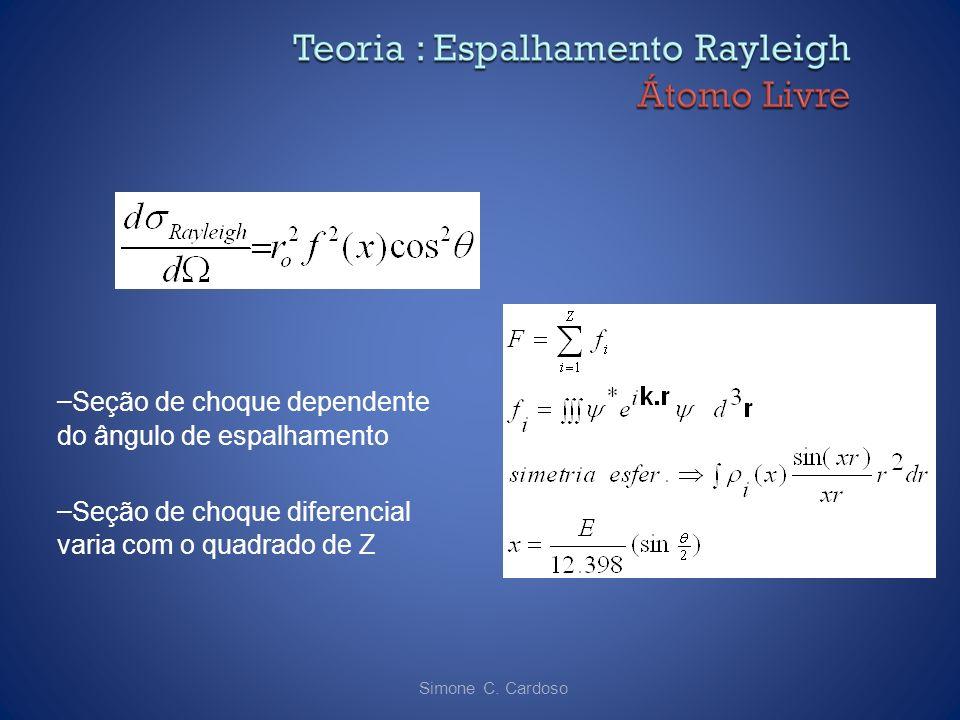Simone C. Cardoso – Seção de choque dependente do ângulo de espalhamento – Seção de choque diferencial varia com o quadrado de Z