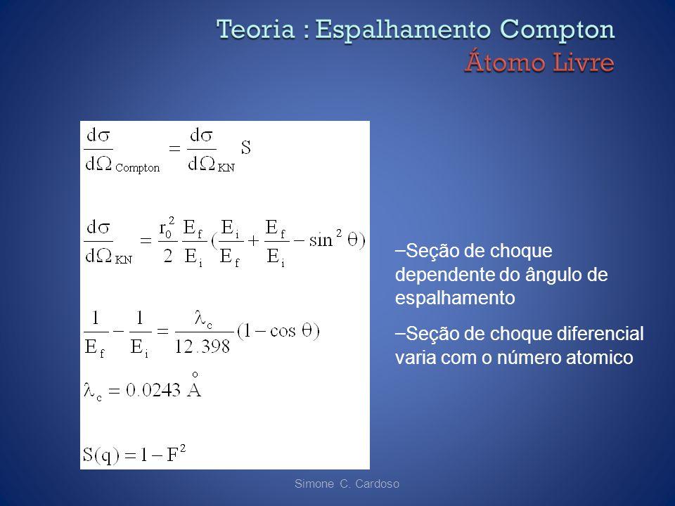 Simone C. Cardoso – Seção de choque dependente do ângulo de espalhamento – Seção de choque diferencial varia com o número atomico