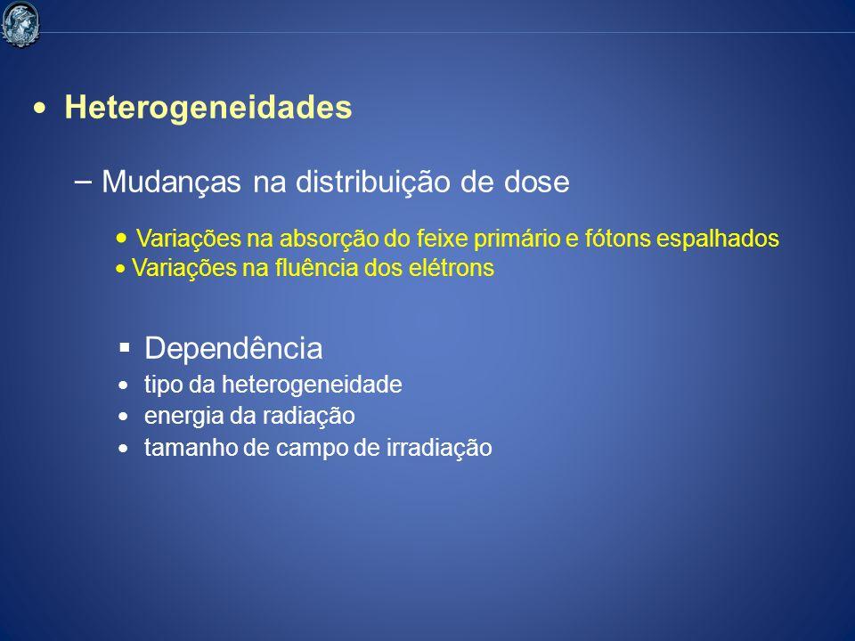 Heterogeneidades – Mudanças na distribuição de dose Dependência tipo da heterogeneidade energia da radiação tamanho de campo de irradiação Variações n