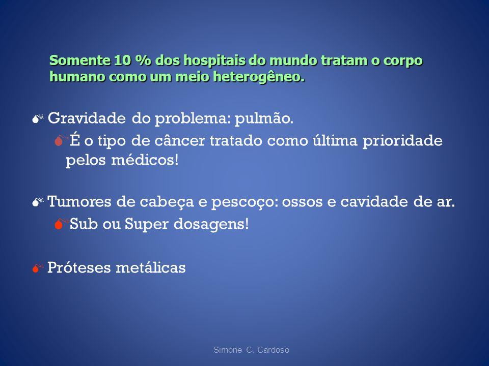 Simone C. Cardoso Gravidade do problema: pulmão. É o tipo de câncer tratado como última prioridade pelos médicos! Tumores de cabeça e pescoço: ossos e