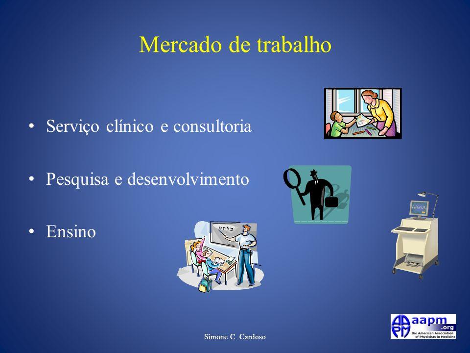 Simone C. Cardoso Mercado de trabalho Serviço clínico e consultoria Pesquisa e desenvolvimento Ensino