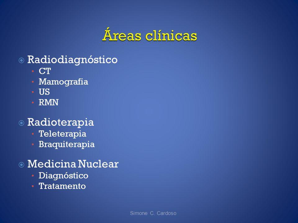Radiodiagnóstico CT Mamografia US RMN Radioterapia Teleterapia Braquiterapia Medicina Nuclear Diagnóstico Tratamento Simone C. Cardoso