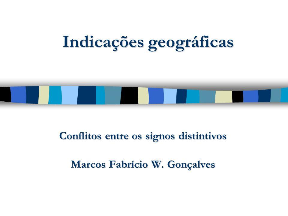 Conflitos de marcas e IG Não se pode registrar marca constituída de indicação geográfica.