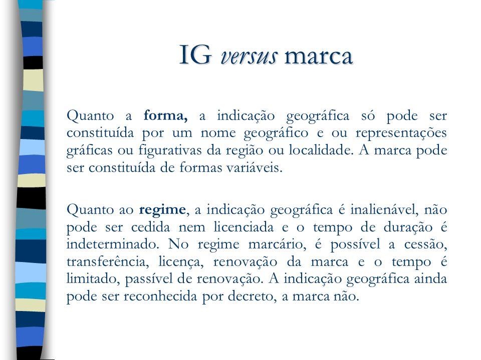 IG versus marca Quanto a forma, a indicação geográfica só pode ser constituída por um nome geográfico e ou representações gráficas ou figurativas da r