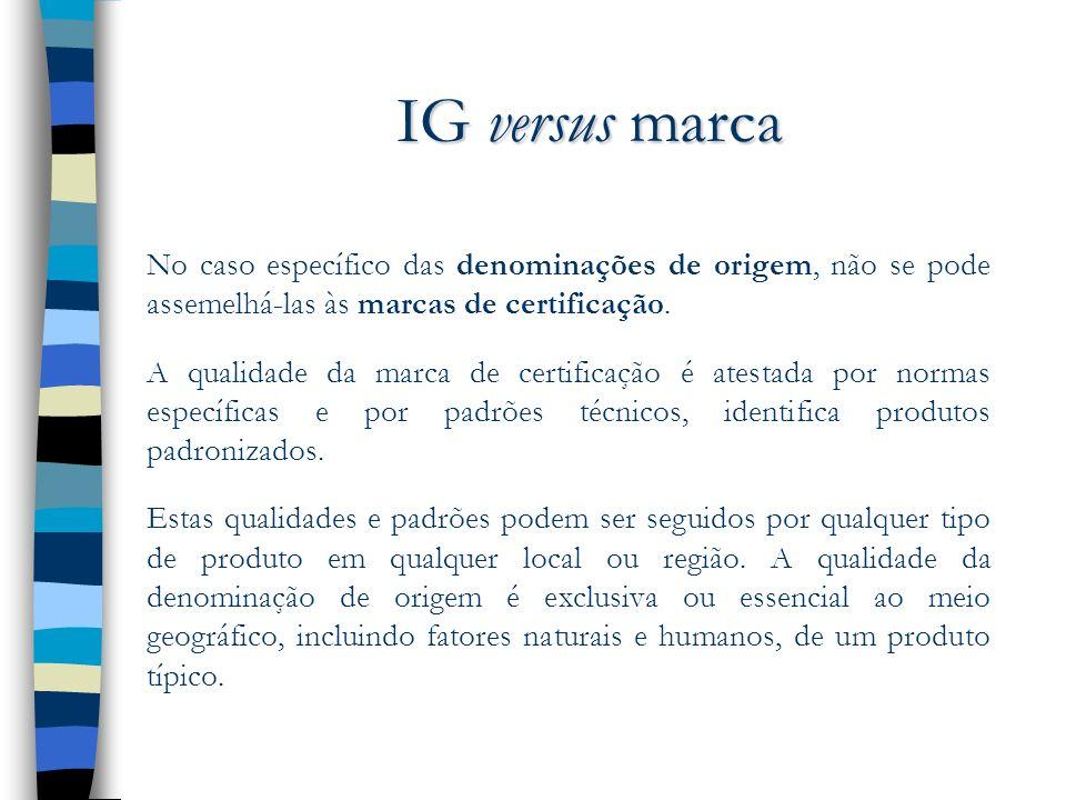 IG versus marca No caso específico das denominações de origem, não se pode assemelhá-las às marcas de certificação. A qualidade da marca de certificaç