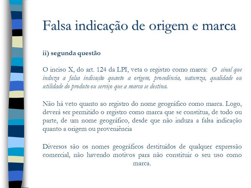 Falsa indicação de origem e marca ii) segunda questão O inciso X, do art. 124 da LPI, veta o registro como marca: O sinal que induza a falsa indicação