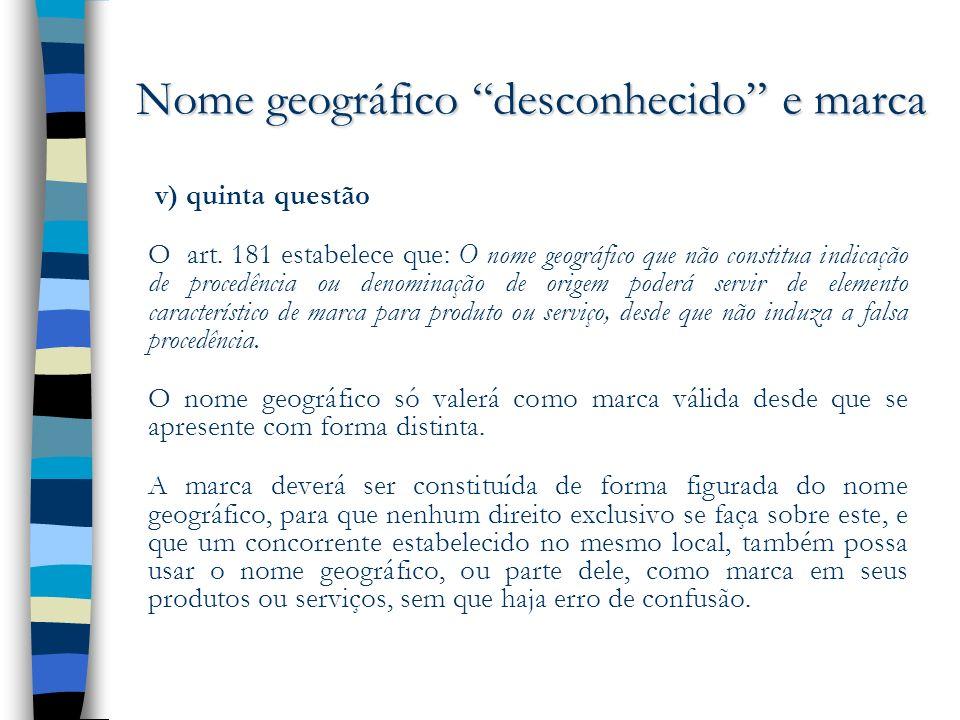 Nome geográfico desconhecido e marca v) quinta questão O art. 181 estabelece que: O nome geográfico que não constitua indicação de procedência ou deno