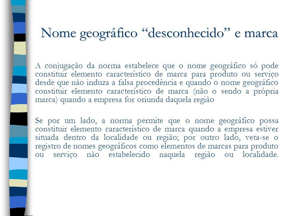 Nome geográfico desconhecido e marca A conjugação da norma estabelece que o nome geográfico só pode constituir elemento característico de marca para p