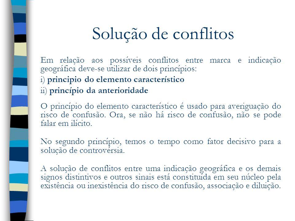 Solução de conflitos Em relação aos possíveis conflitos entre marca e indicação geográfica deve-se utilizar de dois princípios: i) principio do elemen