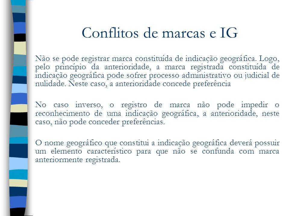 Conflitos de marcas e IG Não se pode registrar marca constituída de indicação geográfica. Logo, pelo princípio da anterioridade, a marca registrada co
