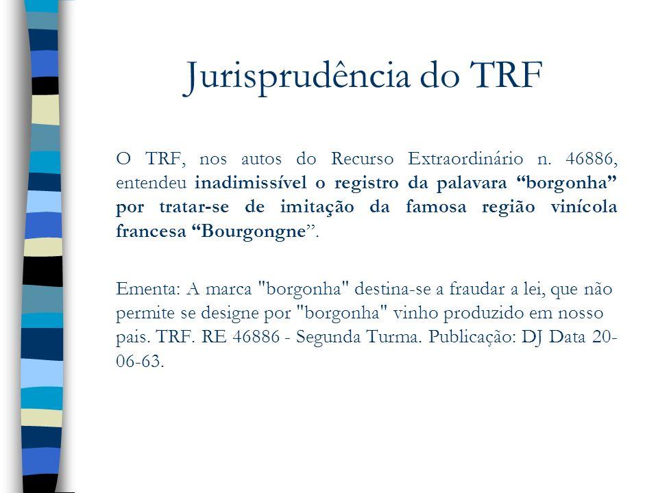Jurisprudência do TRF O TRF, nos autos do Recurso Extraordinário n. 46886, entendeu inadimissível o registro da palavara borgonha por tratar-se de imi