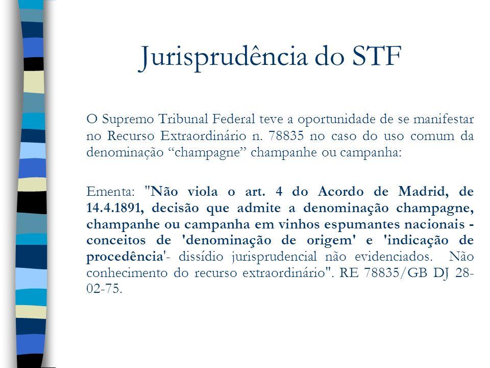 Jurisprudência do STF O Supremo Tribunal Federal teve a oportunidade de se manifestar no Recurso Extraordinário n. 78835 no caso do uso comum da denom