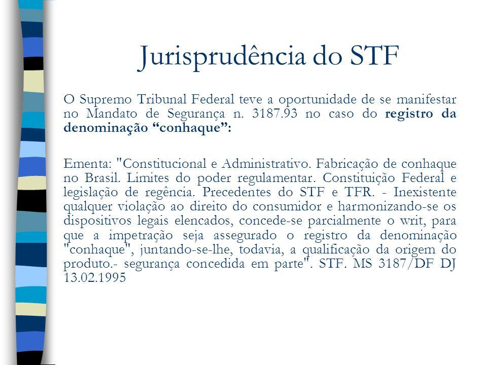 Jurisprudência do STF O Supremo Tribunal Federal teve a oportunidade de se manifestar no Mandato de Segurança n. 3187.93 no caso do registro da denomi
