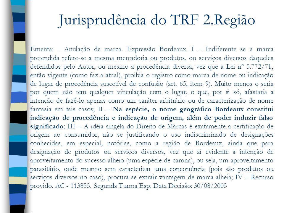 Jurisprudência do TRF 2.Região Ementa: - Anulação de marca. Expressão Bordeaux. I – Indiferente se a marca pretendida refere-se a mesma mercadoria ou