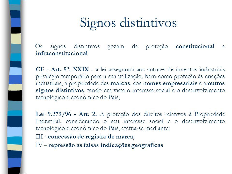Signos distintivos Os signos distintivos gozam de proteção constitucional e infraconstitucional CF - Art. 5°. XXIX - a lei assegurará aos autores de i