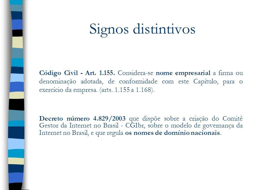 Signos distintivos Código Civil - Art. 1.155. Considera-se nome empresarial a firma ou denominação adotada, de conformidade com este Capítulo, para o