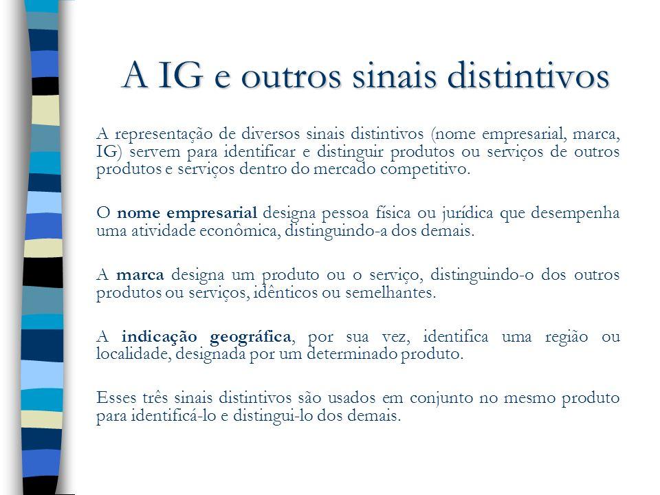 A IG e outros sinais distintivos A representação de diversos sinais distintivos (nome empresarial, marca, IG) servem para identificar e distinguir pro