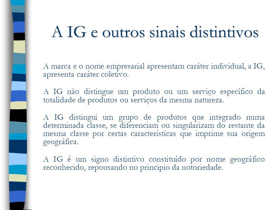 A IG e outros sinais distintivos A marca e o nome empresarial apresentam caráter individual, a IG, apresenta caráter coletivo. A IG não distingue um p