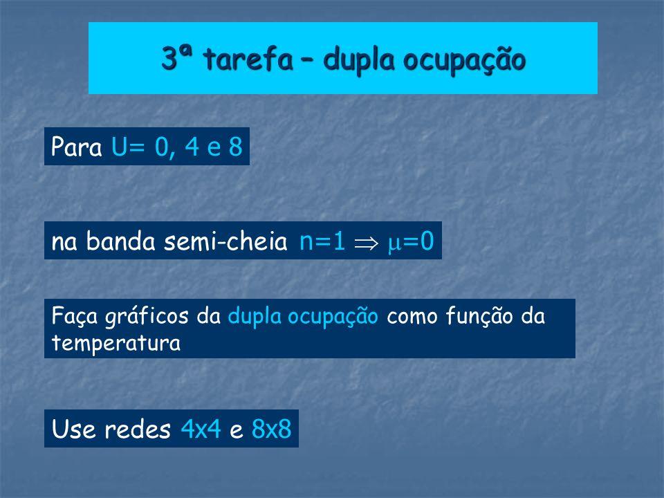 3ª tarefa – dupla ocupação Para U= 0, 4 e 8 Faça gráficos da dupla ocupação como função da temperatura Use redes 4x4 e 8x8 na banda semi-cheia n=1 =0