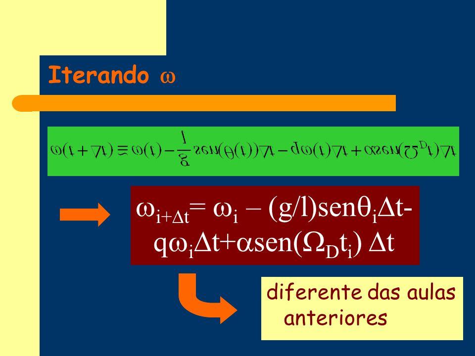i+ t = i – (g/l)sen i t- q i t+ sen( D t i ) t diferente das aulas anteriores