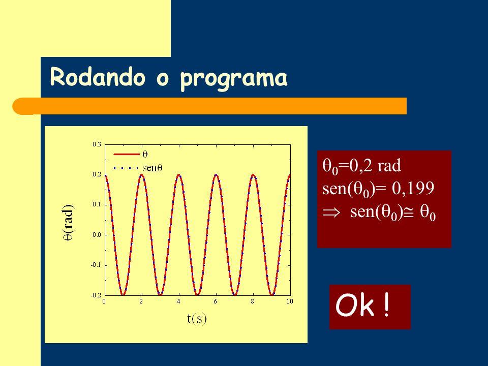 Rodando o programa Ok ! 0 =0,2 rad sen( 0 )= 0,199 sen( 0 ) 0
